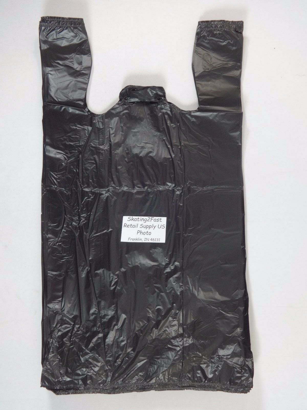 1/6 GRACIAS Carry - Out Plastic T-Shirt Bags Black with Hand
