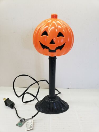 Vintage Blow Mold Pumpkin Jack O Lantern Electric Light Up Candlestick Halloween