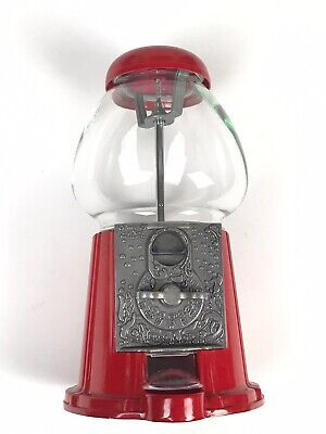 Vintage 1985 Red Metal & Glass Gumball Machine by Carousel Clean Complete