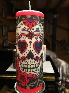 DAY OF THE DEAD (red&white) SUGAR SKULL HAND DECORATED PILLAR CANDLE 90hrs