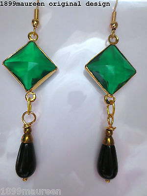Art Deco earrings Art Nouveau geometric vintage style emerald green black drop