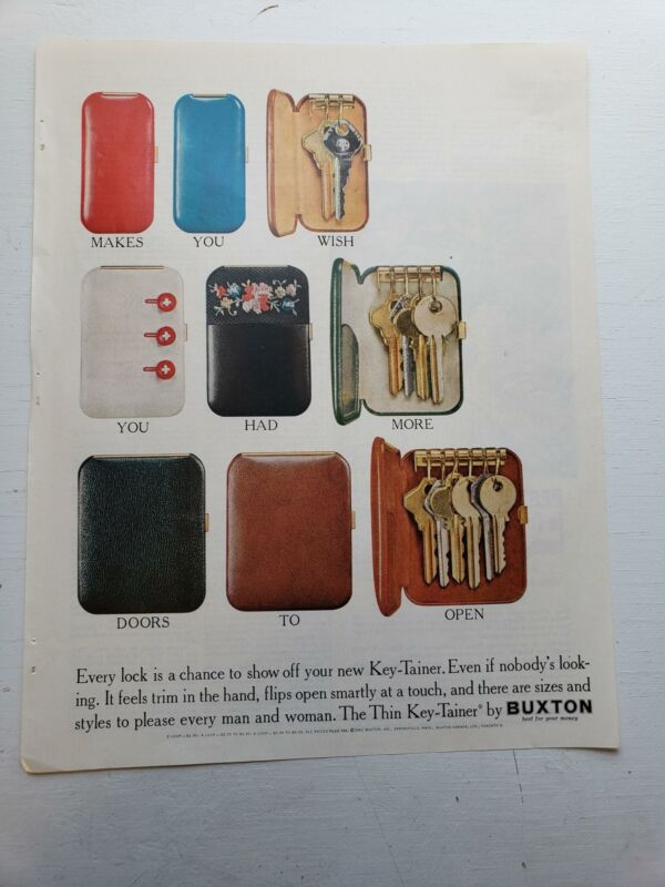 "1961 Vintage Advertisement Buxton Key-Tainer Wallet 13"" x 10"""