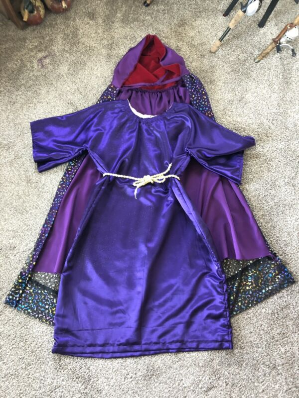 HOMEMADE WIZARD COSTUME/THEATER ~  2 CAPES 1 DRESS & BELT  Kids Large