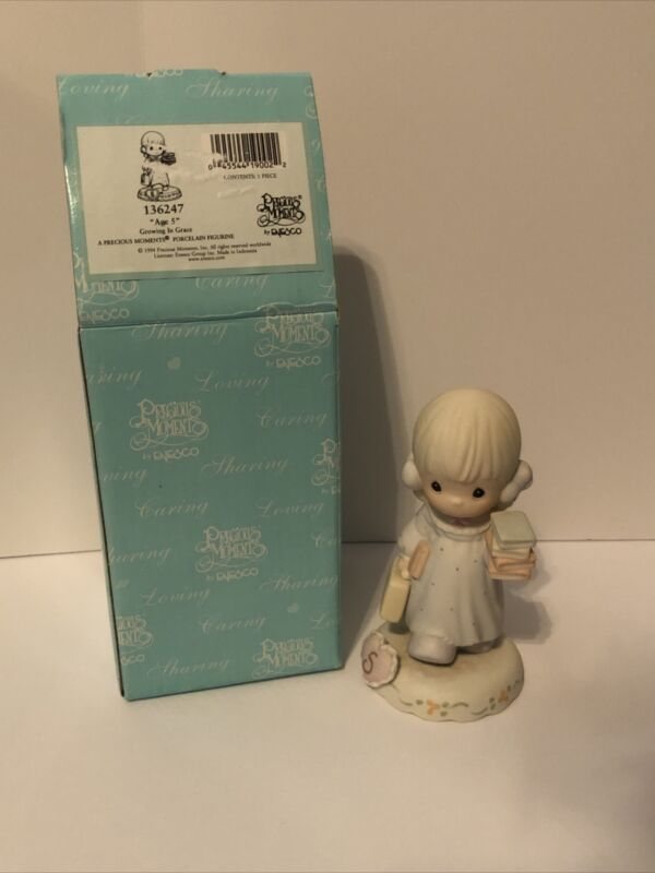 Precious Moments Growing in Grace Blonde Girl with Books Age 5 #136247 1994