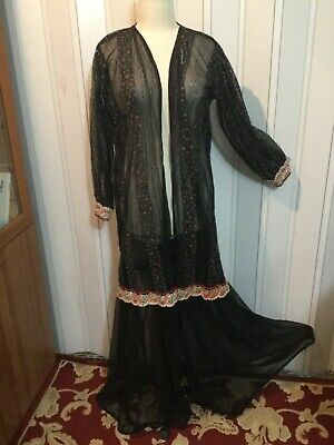 Evening black Jacket coat boho Ethnic Cardigan Abaya cover up Middle East beaded