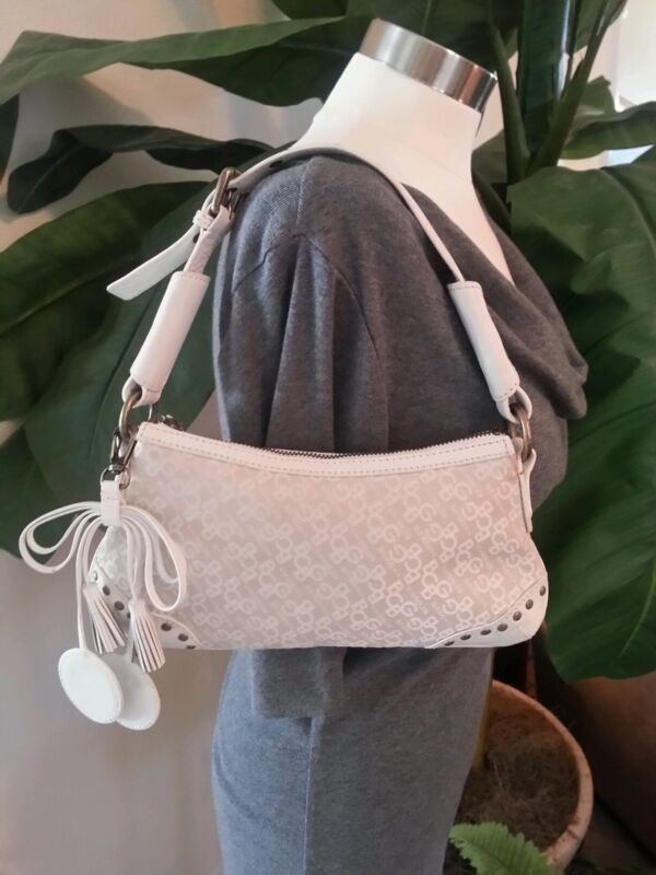 BCBG Girls White Cream signature Pouchette Leather trim Bag Purse Ladies EUC