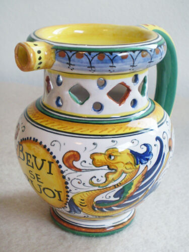 "Vintage ITALIAN HandPainted Deruta Bevi Se Puoi Joke PITCHER ""Drink If You Can"""