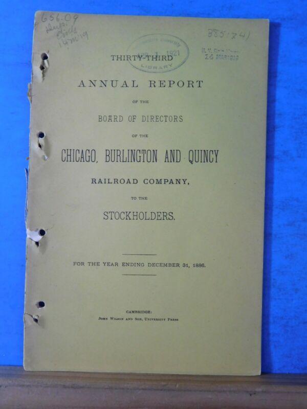 Chicago, Burlington, & Quincy Railroad Company Annual Report  1886
