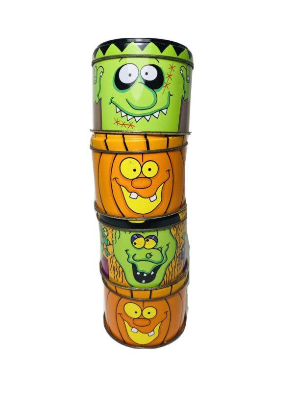 Vintage Russ Berrie Halloween Metal Tins Lot Of Four Frankenstein Witch Pumpkin