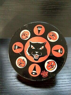 Vintage 1950s Tin Halloween Noise Maker Ratchet ~ U S METAL TOY  USA ~ Black Cat