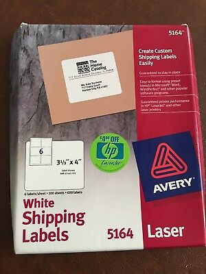 Avery 5164 Laser Shipping Labels 3 13 X 4 - 600 Labels 100 Sheets - White - New