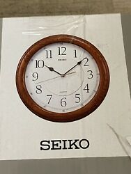 Seiko QXA129BLH - Wall Clock Quiet Sweep Second Hand Dark Brown Solid Oak Case