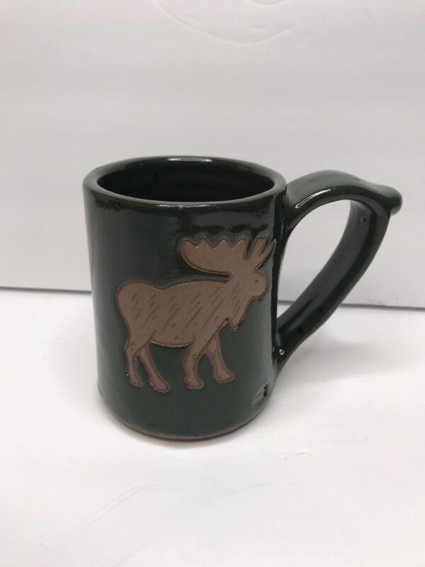 CIRCLE COLLECTION Green Handmade Stoneware Moose Mug Cup 4.5 inches tall