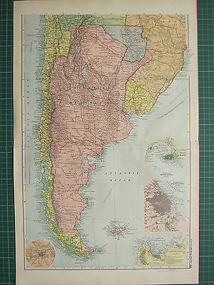 1900 LARGE VICTORIAN MAP ~ SOUTHERN SECTION SOUTH AMERICA ~ CHILE VALPARAISO