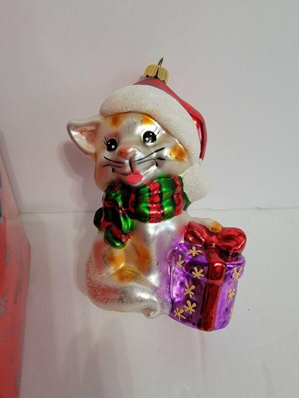 Vintage Christopher Radko kitten Sparkle Bright Hand-Painted Christmas Ornament
