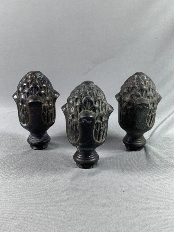 3 Vtg Metal Finials Acorn Pineapple