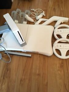 Wii, controllers, attachments, balance board and games