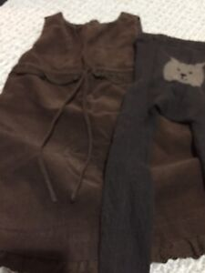 Girls sz 4 corduroy dress and tights