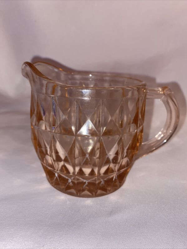 Jeanette Windsor Diamond Glass Creamer Pitcher 3.5""