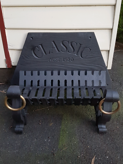 Cast Iron Fire Grate & dogs, brass rings, textured backing plate