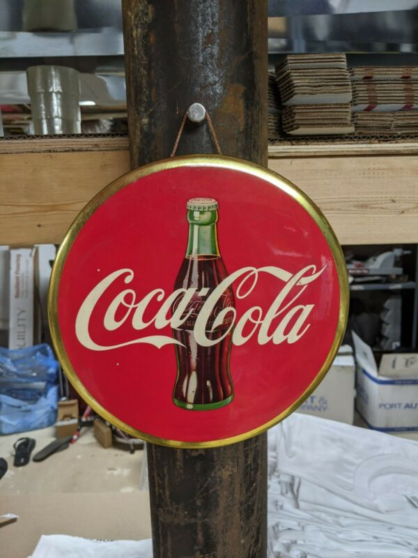 "Vintage metal sign COCA COLA Soda Round 9"" button"