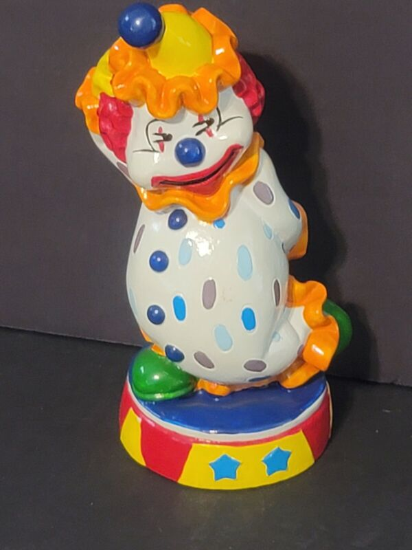 Vintage Plastic Happy Circus Clown Bank Bright Colors Made In Taiwan  BIN M