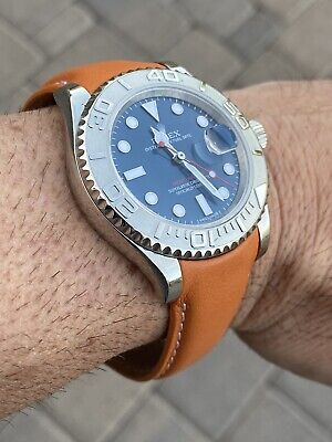20mm LT. Brown Calfskin leather curved (fitted) Band Strap Rolex SUBMARINER GMT Brown Calfskin Strap