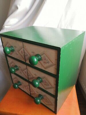 HABERDASHERY SHABBY CHIC CHEST OF DRAWERS VINTAGE STYLE COLLECTORS CABINET
