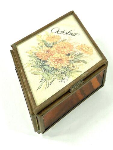 Vintage TRINKET BOX October Birthday ENESCO LENA LIU Marigolds