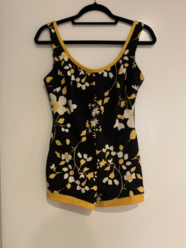Vintage 1960's Black And Yellow Floral California Girl Swimsuit Size Small