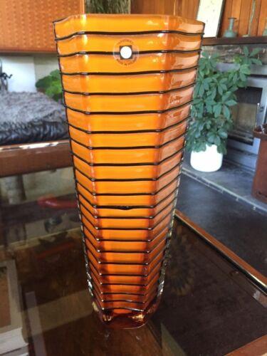 Vintage 1980s Tarnoweic Poland Cased Hexagonal Glass Vase in Orange and Black