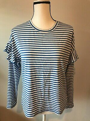 H&M Womens Striped Ruffled Long Sleeve Blouse Size L (A)