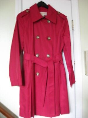 NWOT Michael Michael Kors Sz M Red Trench Coat Cotton/Polyester
