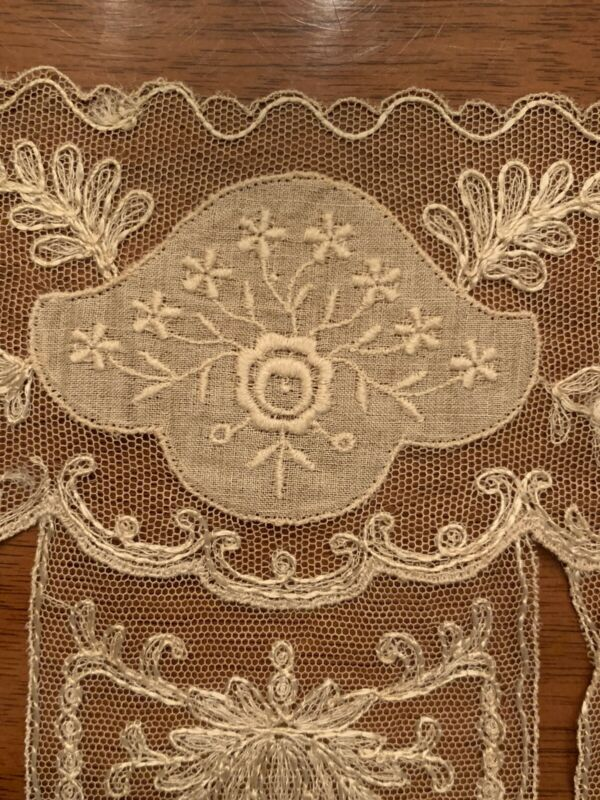 Rare Antique Edwardian Embroidered Lace Dress Collar Bodice Applique 1900
