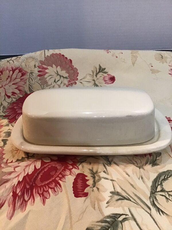 """Vintage McCoy Pottery Butter Dish Ivory 8 X 4"""""""