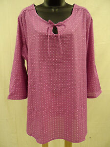 Misses Size XL Cotton Blend PEASANT Top Shirt KEYHOLE Lightweight Swiss Dot  NWT
