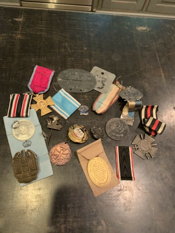 WW1 Imperial german Medals, Pins , Dog Tag Etc Lot