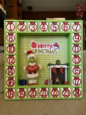 "New Custom Made Wooden Advent Calendar ""Merry Grinchmas"" Dr Seuss The Grinch"