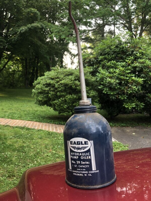"Vintage Eagle Hydraulic Pump Oiler, No. 29 Series, 1 Qt Capacity, 14"" Spout, USA"