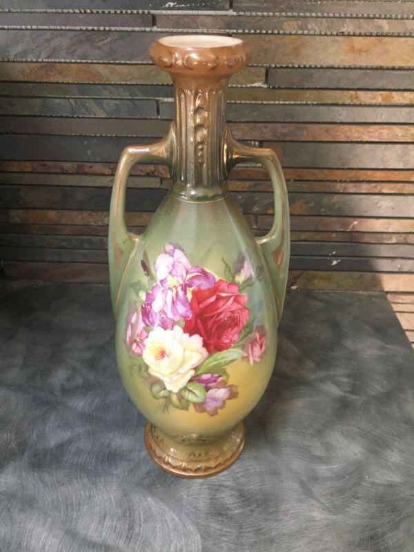 Antique Robert Hanke RH Austria Handle Hand Painted  Vase Flowers