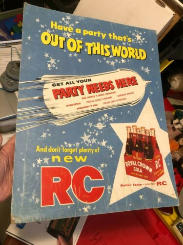 Vintage 1960s RC Royal Crown Cola store ad poster