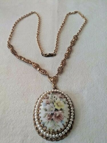 Vintage West German Made  Faux Pearl Cameo 24 Inch Necklace