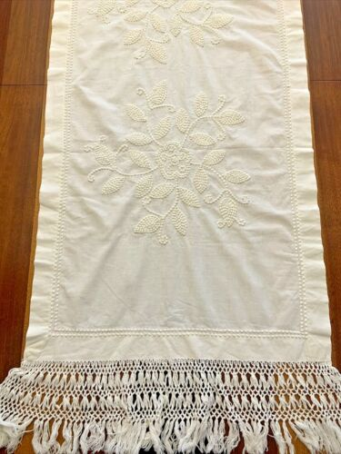 Antique White Embroidered Table Runner Fringe Lg Long Wide 83x24 Rare Couchwork