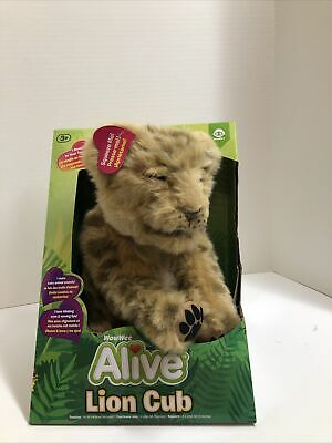 WowWee Alive Lion Cub Baby Interactive Companion Pet Plush Cuddly Toy - Brown