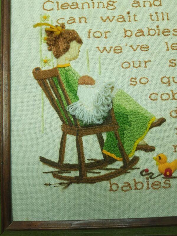 "Cross Stitch Framed Wall Decor Sunset Stitchery ""Babies Don't Keep"" Vintage"
