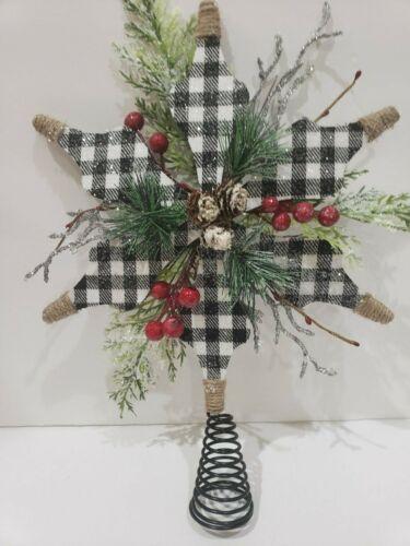 """Buffalo Plaid Check Christmas Tree Topper Black White 15.5"""""""