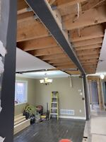 Steel and lvl beam installation, load bearing wall removal