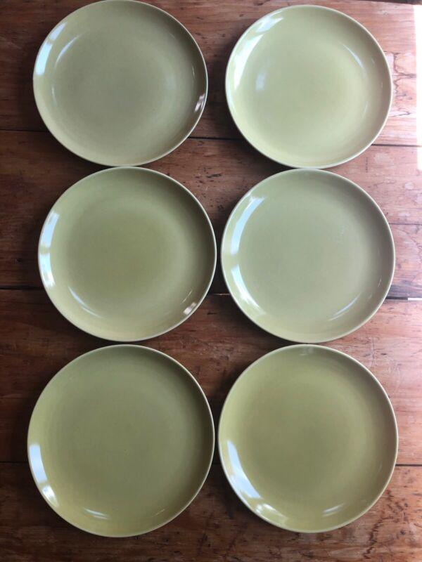 6 Dinner Plates Russel Wright Iroquois Mustard Mid-Century Modernist