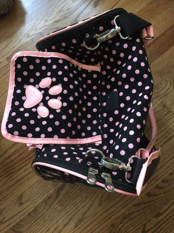 Zac And Zoey Black And Pink Polka Dot Dog Carrier