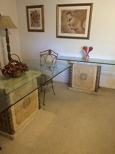 Dining Table W Bevel GlassTop On Mactan StoneBase & Matching sideTable Linley Point Lane Cove Area Preview